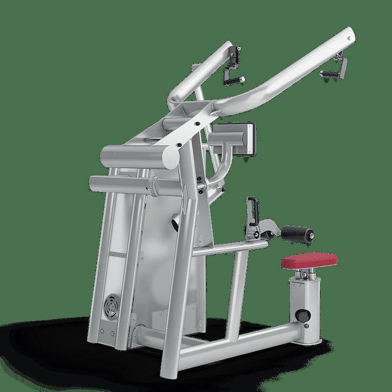 Beim Latziehen ist die Rückenmuskulatur gefordert. Das Trainingsgerät gibt das Intervall für ein perfektes Workout vor.