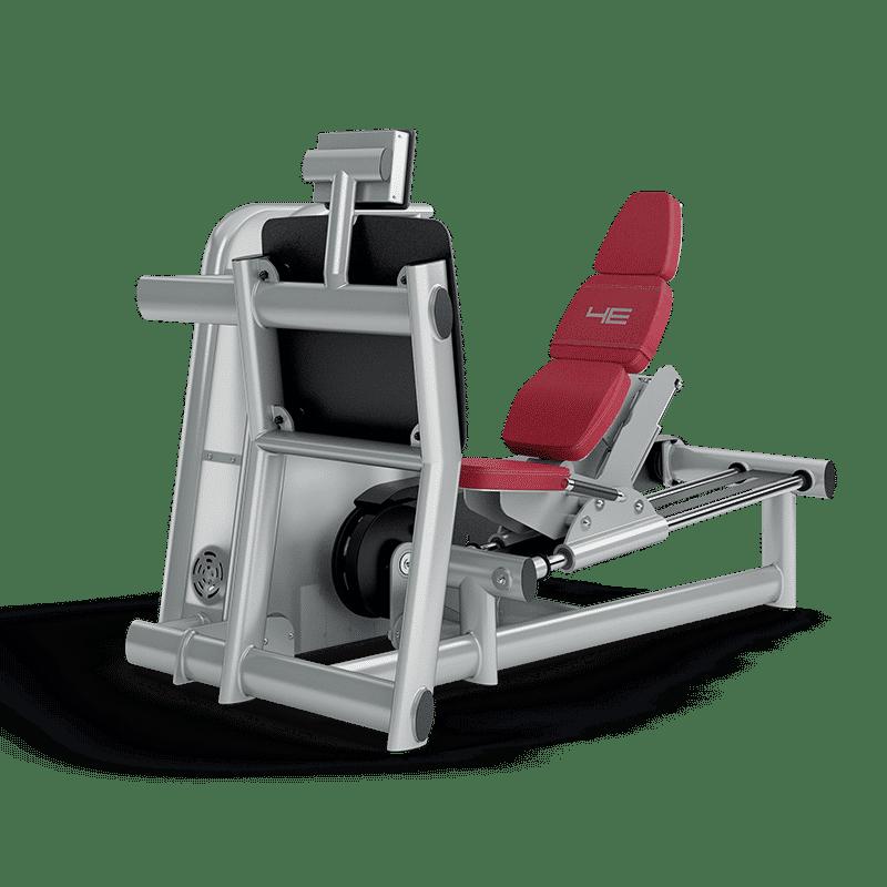 An der 4E-Beinpresse im Fitnessstudio wird die gesamte Rumpfmuskulatur beansprucht.